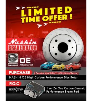 Nashin Front OE Brake Rotors + Zerone Brake Pads - Perodua Myvi (18+)