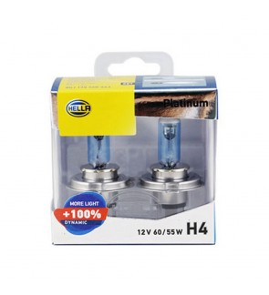 Hella Platinum H4 Bulb +100% Brightness (1 Pair)